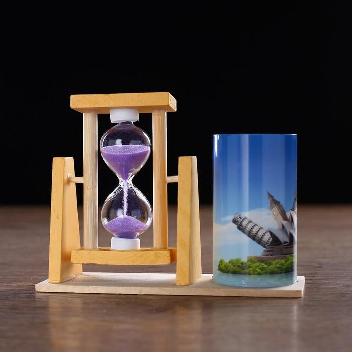 Часы песочные Достопримечательности с карандашницей, 12.5х4.5х9.3 см микс