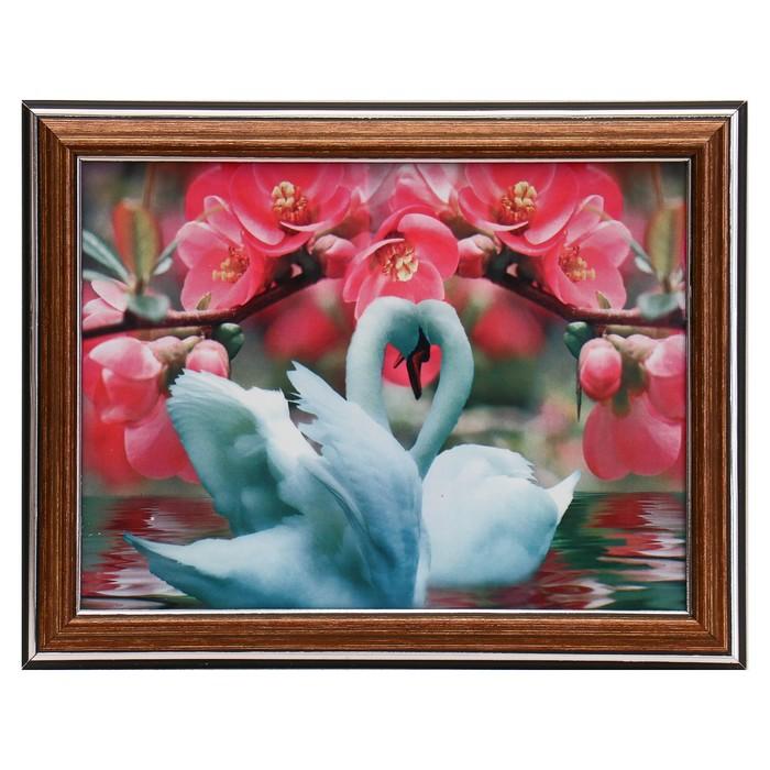 Картина Два лебедя под веточкой 15х20 см 18х23см