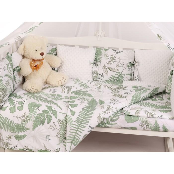 Борт в кроватку Exclusive Soft Collection, 12 предметов, принт папоротники, перкаль софт