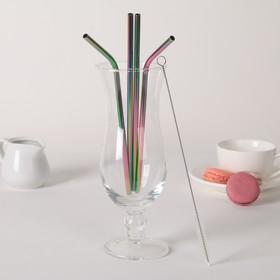 Набор трубочек с ёршиком 4 шт Color, 21 см Ош