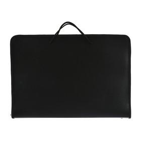 Папка А3 с ручками пластиковая, молния сверху, жёсткое дно, 460 х 325 х 50 мм, «Офис», ПМ-А3-36, чёрная Ош
