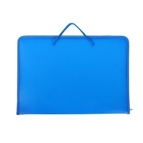 Папка А3 с ручками пластиковая, молния сверху, жёсткое дно, 460 х 325 х 50 мм, «Офис», ПМ-А3-36, синяя Ош