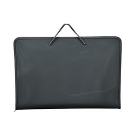 Папка А3 с ручками пластиковая, молния сверху, жёсткое дно, 470 х 335 х 50 мм, «Офис», ПМ-А3-36, серая Ош