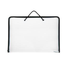 Папка А3 с ручками пластиковая, молния сверху, жёсткое дно, 460 х 325 х 50 мм, «Офис», ПМ-А3-36, прозрачная, чёрная Ош