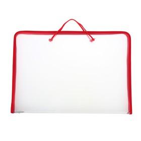 Папка А3 с ручками пластиковая, молния сверху, жёсткое дно, 470 х 335 х 50 мм, «Офис», ПМ-А3-36, прозрачная, красная Ош
