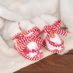 Тапочки меховые для девочки, размер 19,5 (лисички, красно-белая окантовка) Ош
