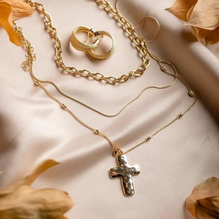 Кулон Цепь крест объёмный цвет золото, 50см