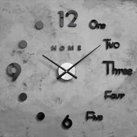 Часы-наклейка DIY 'Аба', чёрные, d=70 см, плавный ход, (+механизм) Ош