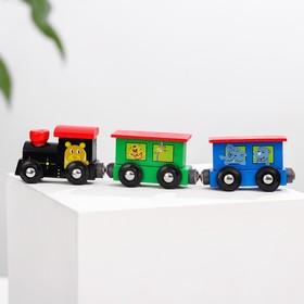 Паровоз и два вагона «Магнитные с животными» 3×7,5×19 см