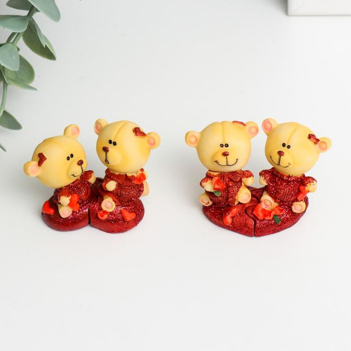 Фигурка Два мишки на сердечке набор 2 шт, микс 5х3х4см