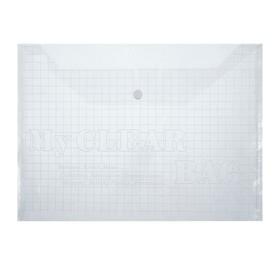 Папка-конверт на кнопке, формат А4, 80 мкр, «Клетки», прозрачная