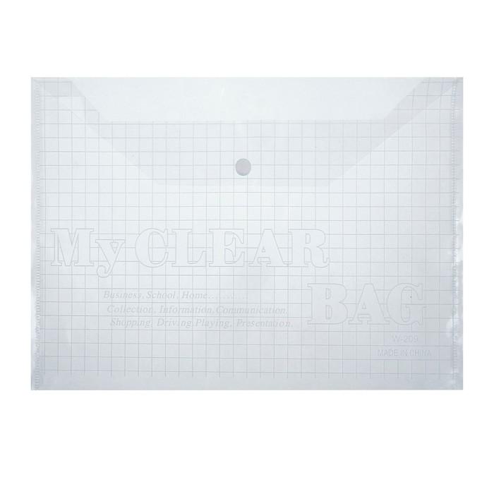 Папка-конверт на кнопке, формат А4, 80 мкр, Клетки, прозрачная