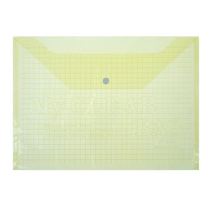 Папка-конверт на кнопке, формат А4, 80 мкр, Клетка, тонированная, жёлтая