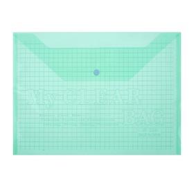Папка-конверт на кнопке, формат А4, 80 мкр, «Клетка», тонированная, зелёная Ош