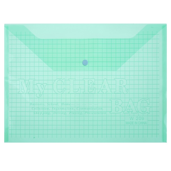 Папка-конверт на кнопке, формат А4, 80 мкр, Клетка, тонированная, зелёная