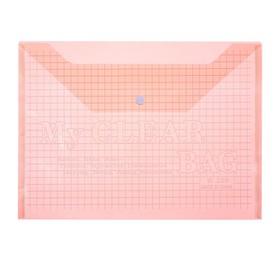 Папка-конверт на кнопке, формат А4, 80 мкр, «Клетка», тонированная, красная Ош