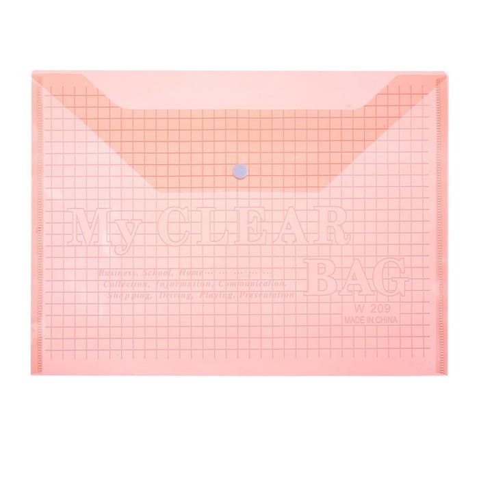 Папка-конверт на кнопке, формат А4, 80 мкр, Клетка, тонированная, красная