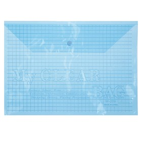 Папка-конверт на кнопке, формат А4, 120 мкр, «Клетка», тонированная, синяя Ош