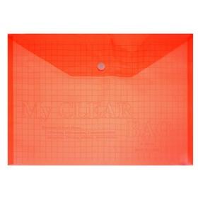 Папка-конверт на кнопке формат А4 140мкр Клетка тонированная красная