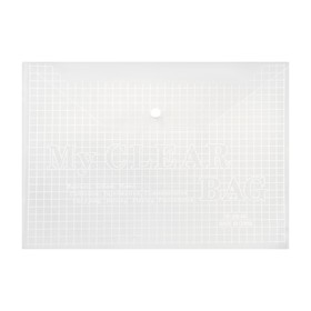 Папка-конверт на кнопке формат А4 140мкр Клетка прозрачная