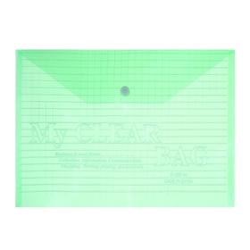 Папка-конверт на кнопке формат А4 140мкр Клетка тонированная зеленая