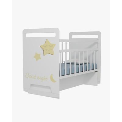 Кровать детская Good Night Star колесо-качалка с маятником (белый) (1200х600)