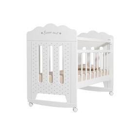 Кровать детская BONNE колесо-качалка (белый) (1200х600)