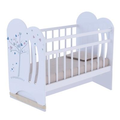 Кровать детская WIND TREE колесо-качалка с маятником (белый) (1200х600)