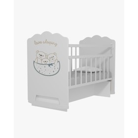 Кровать детская Love Sleeping колесо-качалка с маятником (белый) (1200х600)