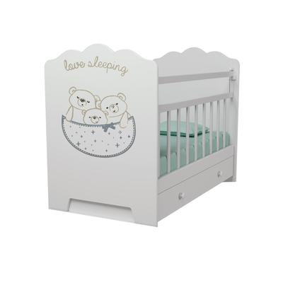 Кровать детская Love Sleeping маятник с ящиком  (белый) (1200х600)
