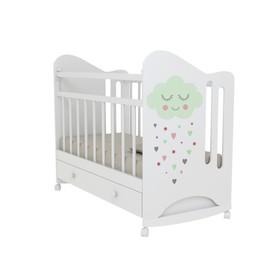 Кровать детская Nicoler колесо-качалка с ящиком  (белый) (1200х600 )