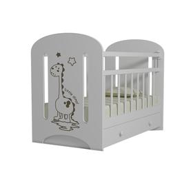 Кровать детская DINO маятник с ящиком  (белый) (1200х600)