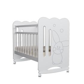 Кровать детская Sweet Rabbit колесо-качалка (белый) ( 1200х600)