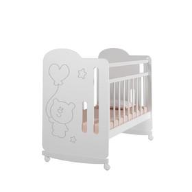 Кровать детская Sweet Bear колесо-качалка  (белый) ( 1200х600)