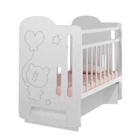 Кровать детская Sweet Bear колесо-качалка с маятником (белый) ( 1200х600)