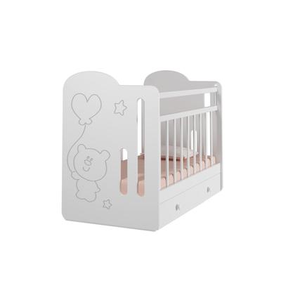 Кровать детская Sweet Bear маятник с ящиком  (белый) ( 1200х600)