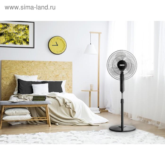 Вентилятор Zanussi ZFF - 907, напольный, 55 Вт, 3 скорости, 1 режим, чёрный