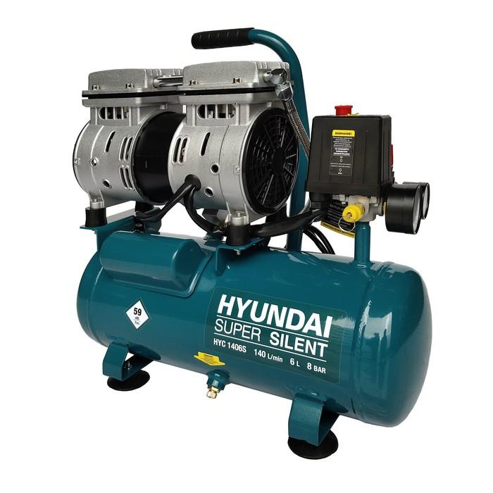 Компрессор Hyundai HYС 1406S, 750 Вт, 140 л/мин, ресивер 6 л, регулировка давления автомат