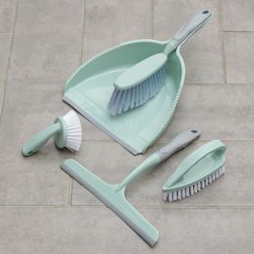 Набор для уборки, 5 предметов: совок, 3 щётки, водосгон, цвет МИКС Ош