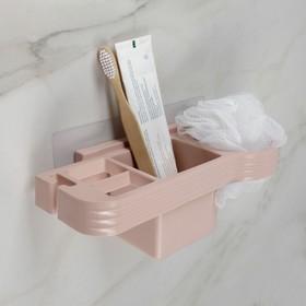 Подставка для ванных принадлежностей, 25×11×8,3 см, в комплекте с креплениями, цвет МИКС Ош