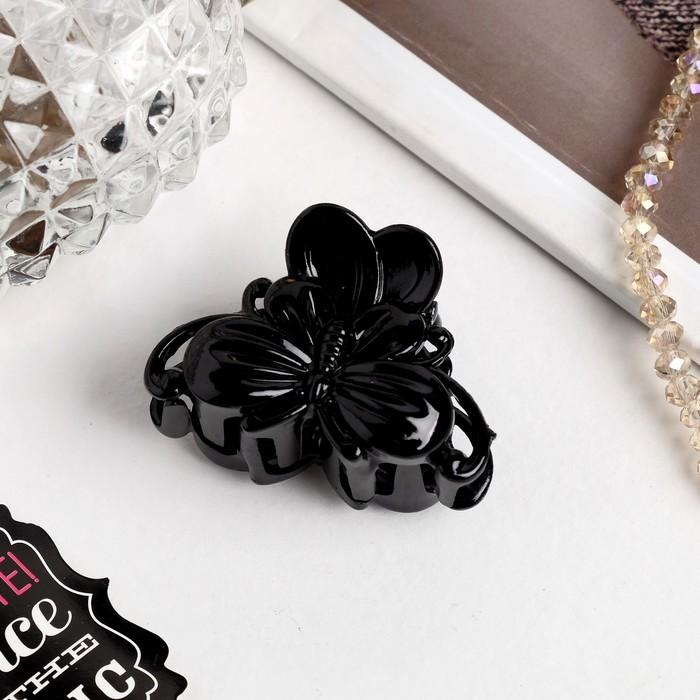 Краб для волос Глянец бабочка 4 см чёрный
