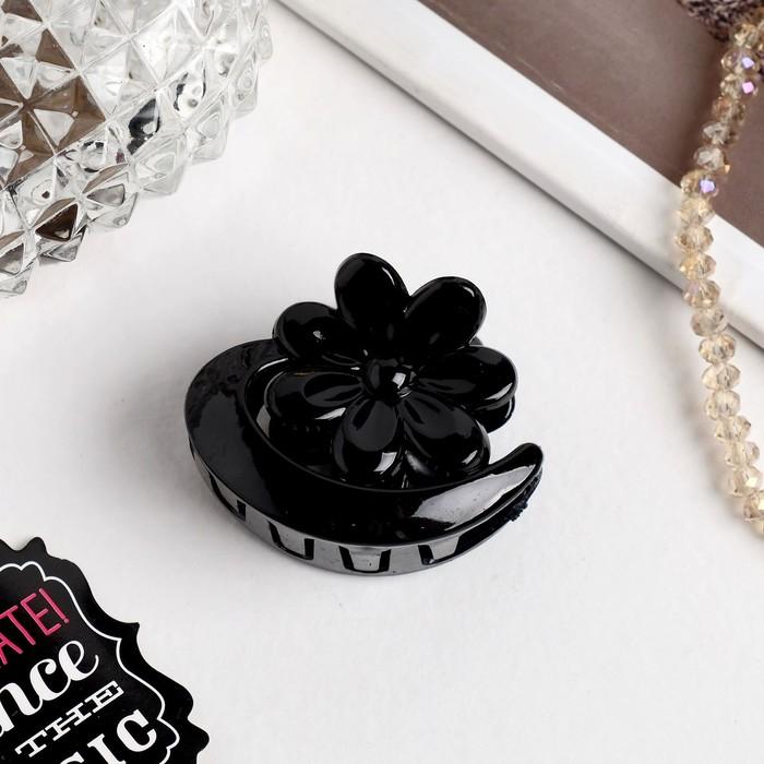 Краб для волос Глянец цветок, 4 см, чёрный