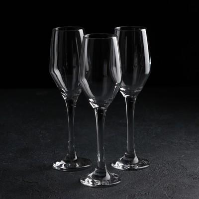 Набор бокалов для шампанского 3 шт «Элла», 230 мл, 4,9×22 см