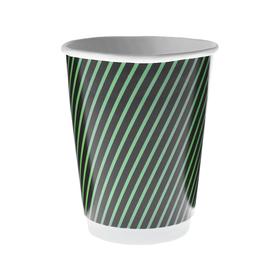 """Стакан """"Чёрно-зеленый"""" двухслойный, для горячих напитков 350 мл, диаметр 90 мм"""