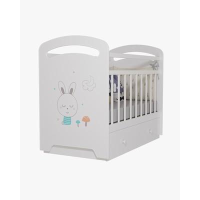 Кровать детская Lucy  маятник с ящиком (белый) (1200х600)