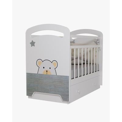 Кровать детская Birba  маятник с ящиком (белый) (1200х600)