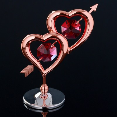 "Сувенир с кристаллами Swarovski ""Двойное сердце со стрелой"" 6,6х6,6 см - Фото 1"
