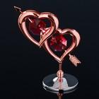 "Сувенир с кристаллами Swarovski ""Двойное сердце со стрелой"" 6,6х6,6 см - Фото 3"