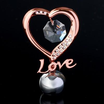 "Сувенир с кристаллами Swarovski ""Элегантное сердце Love"" 8,3х5,1 см - Фото 1"