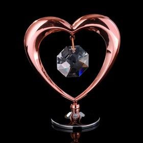 """Сувенир с кристаллами Swarovski """"Сердце"""" 6,4х5,8 см"""